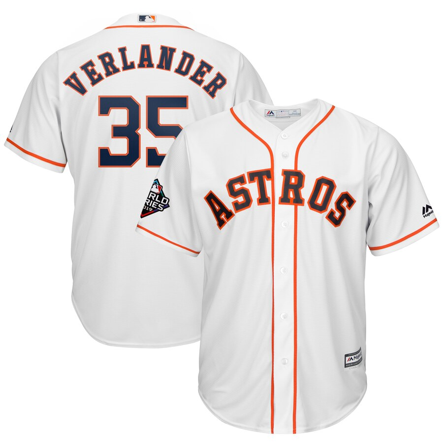 Men's Houston Astros Justin Verlander White 2019 World Series Bound Official Cool Base Player Jersey