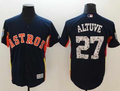 Astros #27 Jose Altuve Navy Blue 2018 Spring Training Cool Base
