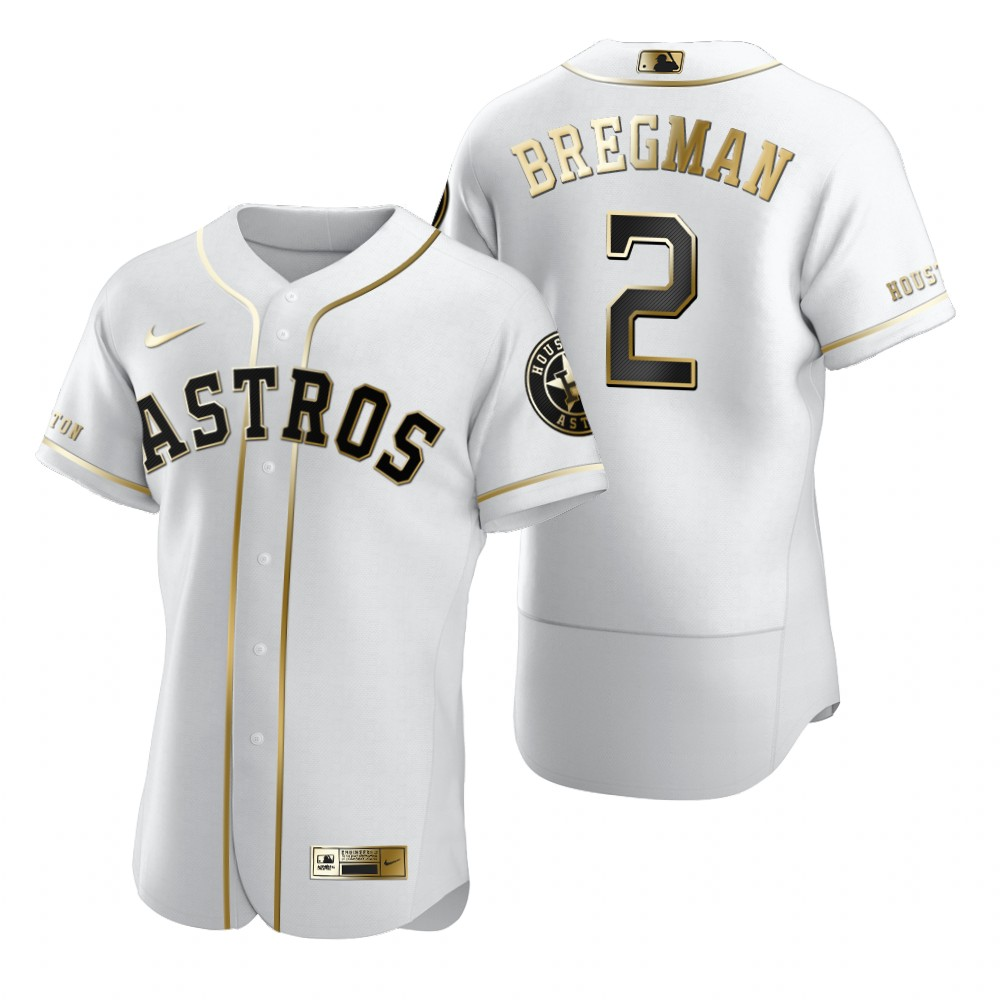 Houston Astros #2 Alex Bregman White Nike Men's Authentic Golden