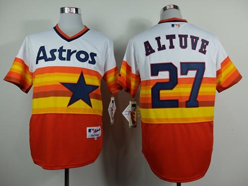 Astros #27 Jose Altuve White/Orange 1980 Turn Back The Clock Sti