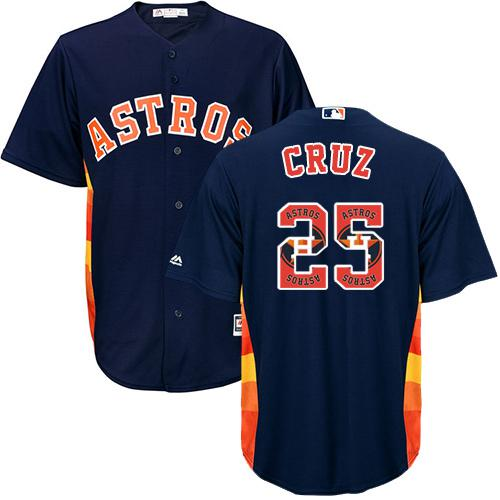 Astros #25 Jose Cruz Navy Blue Team Logo Fashion Stitched MLB Je