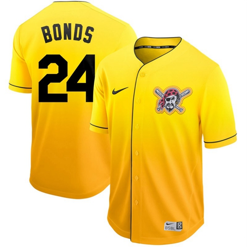 Nike Pirates #24 Barry Bonds Gold Fade Authentic Stitched MLB Je