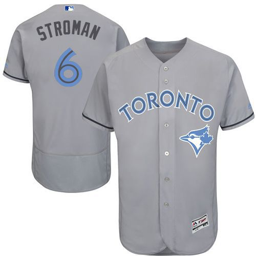 Blue Jays #6 Marcus Stroman Grey Flexbase Authentic Collection Father's Day Stitched MLB Jersey