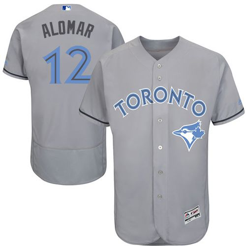 Blue Jays #12 Roberto Alomar Grey Flexbase Authentic Collection Father's Day Stitched MLB Jersey