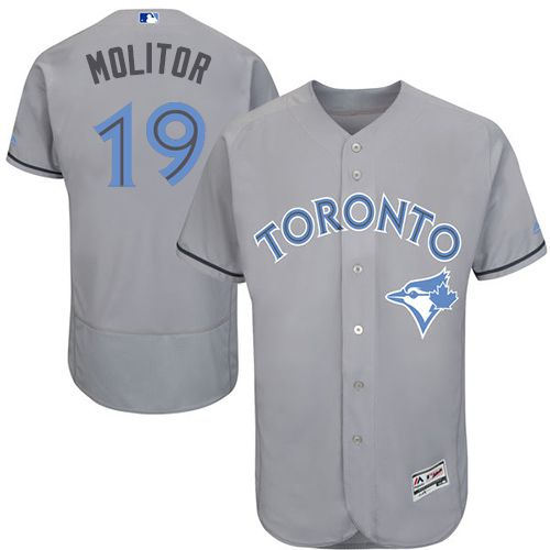 Blue Jays #19 Paul Molitor Grey Flexbase Authentic Collection Father's Day Stitched MLB Jersey