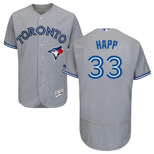Blue Jays #33 J.A. Happ Grey Flexbase Authentic Collection Stitched MLB Jersey
