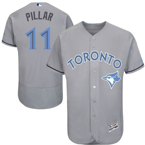 Blue Jays #11 Kevin Pillar Grey Flexbase Authentic Collection Father's Day Stitched MLB Jersey