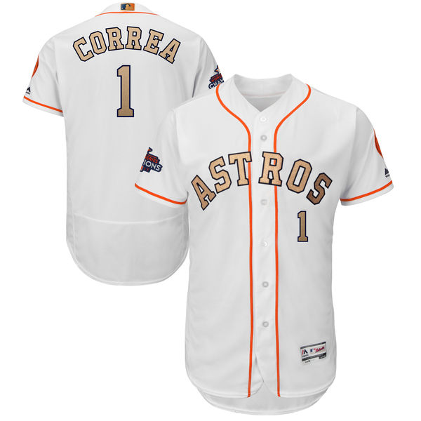 Men's Houston Astros #1 Carlos Correa Majestic White 2018 Gold Program Flex Base Player Stitched MLB Jersey