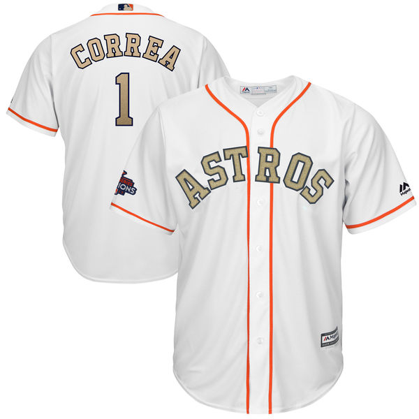 Men's Houston Astros #1 Carlos Correa Majestic White 2018 Gold Program Cool Base Player Stitched MLB Jersey