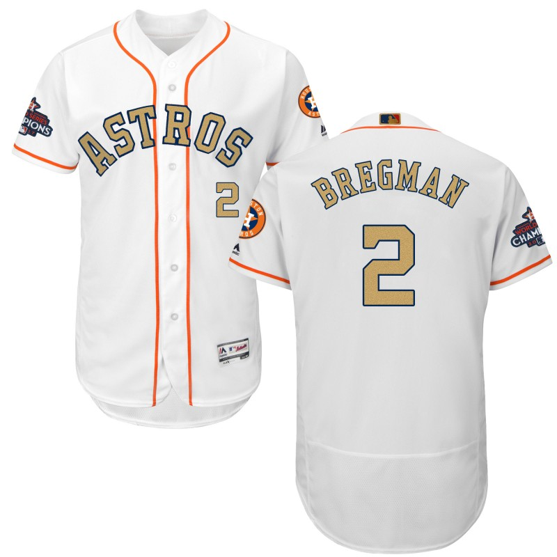 Men's Houston Astros #2 Alex Bregman White 2018 Gold Program Flexbase Stitched MLB Jersey