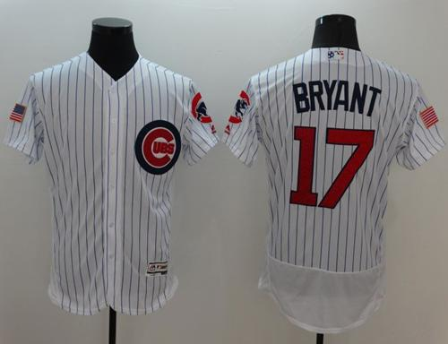 Cubs #17 Kris Bryant White Fashion Stars & Stripes Flexbase Authentic Stitched MLB Jersey