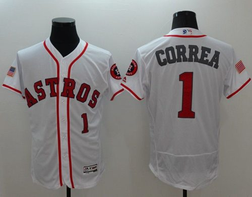 Astros #1 Carlos Correa White Fashion Stars & Stripes Flexbase Authentic Stitched MLB Jersey