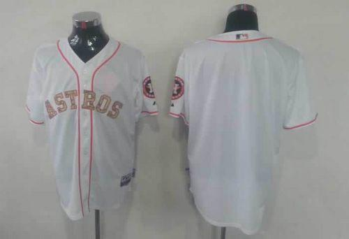 Astros Blank White USMC Cool Base Stitched MLB Jersey