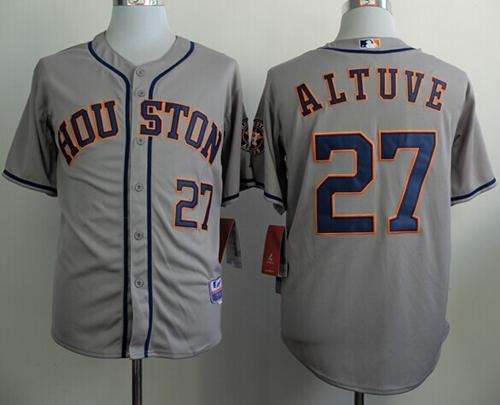 Astros #27 Jose Altuve Grey Cool Base Stitched MLB Jersey