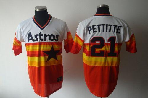 Mitchell And Ness Astros #21 Andy Pettitte White/Orange Stitched Throwback MLB Jersey