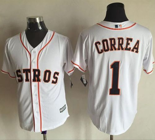 Astros #1 Carlos Correa White New Cool Base Stitched MLB Jersey
