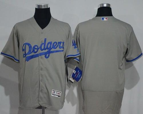 Dodgers Blank Grey Flexbase Authentic Collection Stitched MLB Jersey