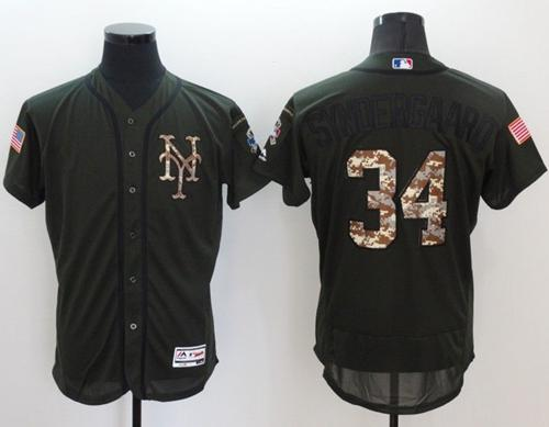 Mets #34 Noah Syndergaard Green Flexbase Authentic Collection Salute to Service Stitched MLB Jersey