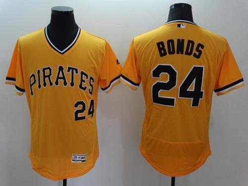 Pirates #24 Barry Bonds Gold Flexbase Authentic Collection Cooperstown Stitched MLB Jersey