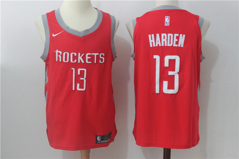 83a760c64 Men s Nike Houston Rockets  13 James Harden Red Stitched NBA Jersey