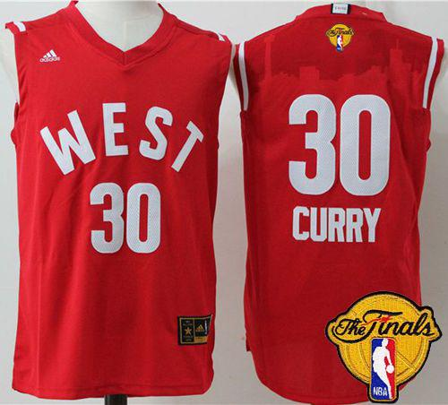 Warriors #30 Stephen Curry Red 2016 All Star The Finals Patch Stitched NBA Jersey