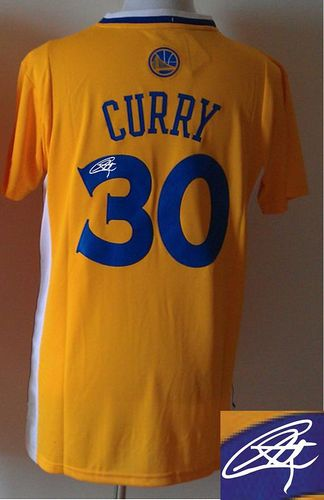 Revolution 30 Autographed Warriors #30 Stephen Curry Gold Stitched NBA Jersey