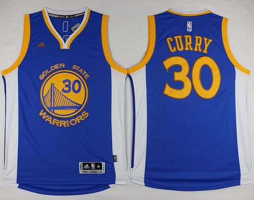 Warriors #30 Stephen Curry Blue Swingman Stitched NBA Jersey