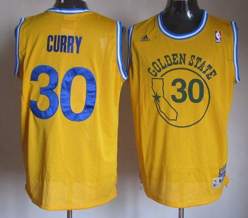 Warriors #30 Stephen Curry Gold New Throwback Stitched NBA Jersey
