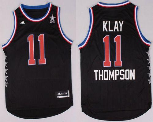 Warriors #11 Klay Thompson Black 2015 All Star Stitched NBA Jersey