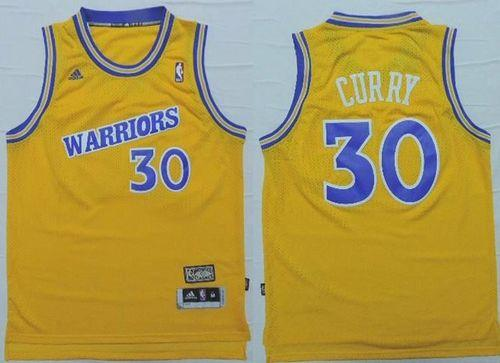 Warriors #30 Stephen Curry Gold Throwback Stitched NBA Jersey