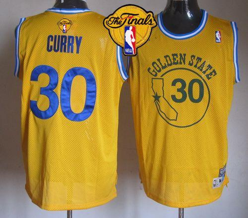 Warriors #30 Stephen Curry Gold New Throwback The Finals Patch Stitched NBA Jersey