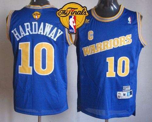 Warriors #10 Tim Hardaway Blue Throwback The Finals Patch Stitched NBA Jersey