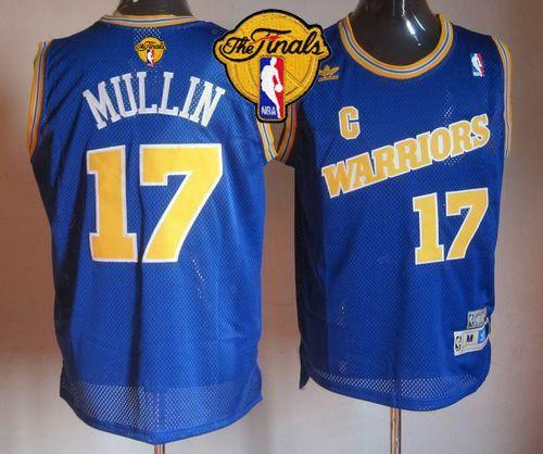 Warriors #17 Chris Mullin Blue Throwback The Finals Patch Stitched NBA Jersey