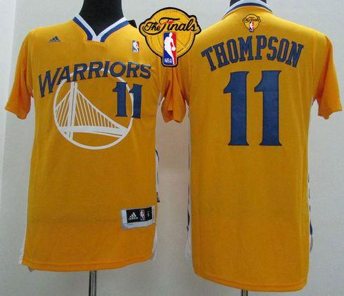 Revolution 30 Warriors #11 Klay Thompson Gold Alternate The Finals Patch Stitched NBA Jersey