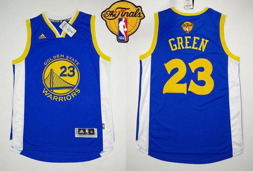 Revolution 30 Warriors #23 Draymond Green Blue The Finals Patch Stitched NBA Jersey