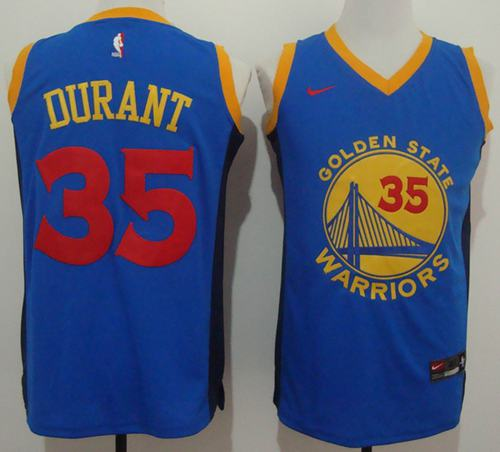 Warriors #35 Kevin Durant Blue Red No. Fashion Stitched NBA Jersey