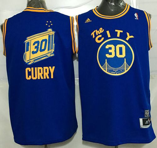 Warriors #30 Stephen Curry Blue Throwback The City Stitched NBA Jersey