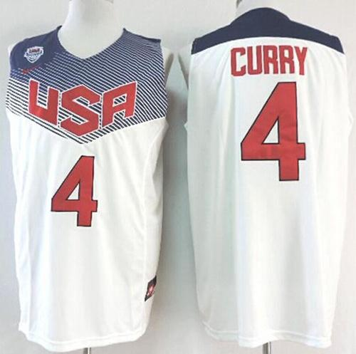 Nike 2014 Team USA #4 Stephen Curry White Stitched NBA Jersey