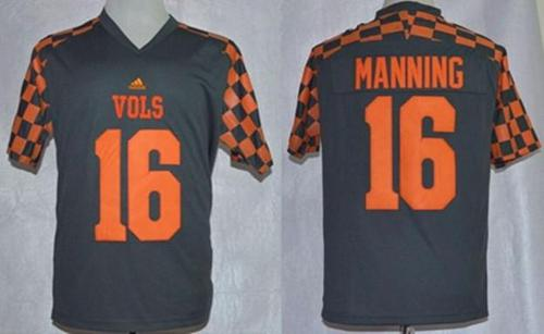 Vols #16 Peyton Manning Grey Adidas Event Stitched NCAA Jersey