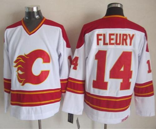 Flames #14 Theoren Fleury White CCM Throwback Stitched NHL Jersey