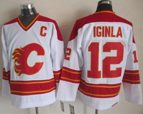 Flames #12 Jarome Iginla White CCM Throwback Stitched NHL Jersey