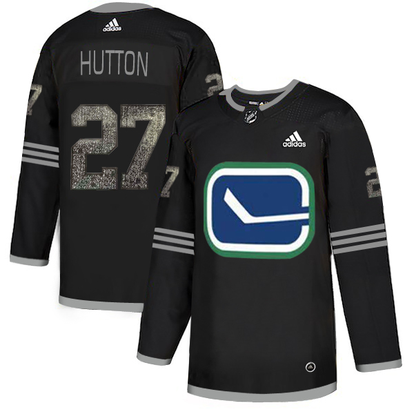 Adidas Canucks #27 Ben Hutton Black_1 Authentic Classic Stitched NHL Jersey