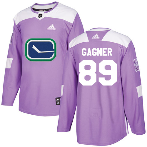 Adidas Canucks #89 Sam Gagner Purple Authentic Fights Cancer Stitched NHL Jersey
