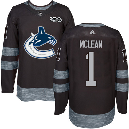 Adidas Canucks #1 Kirk Mclean Black 1917-2017 100th Anniversary Stitched NHL Jersey