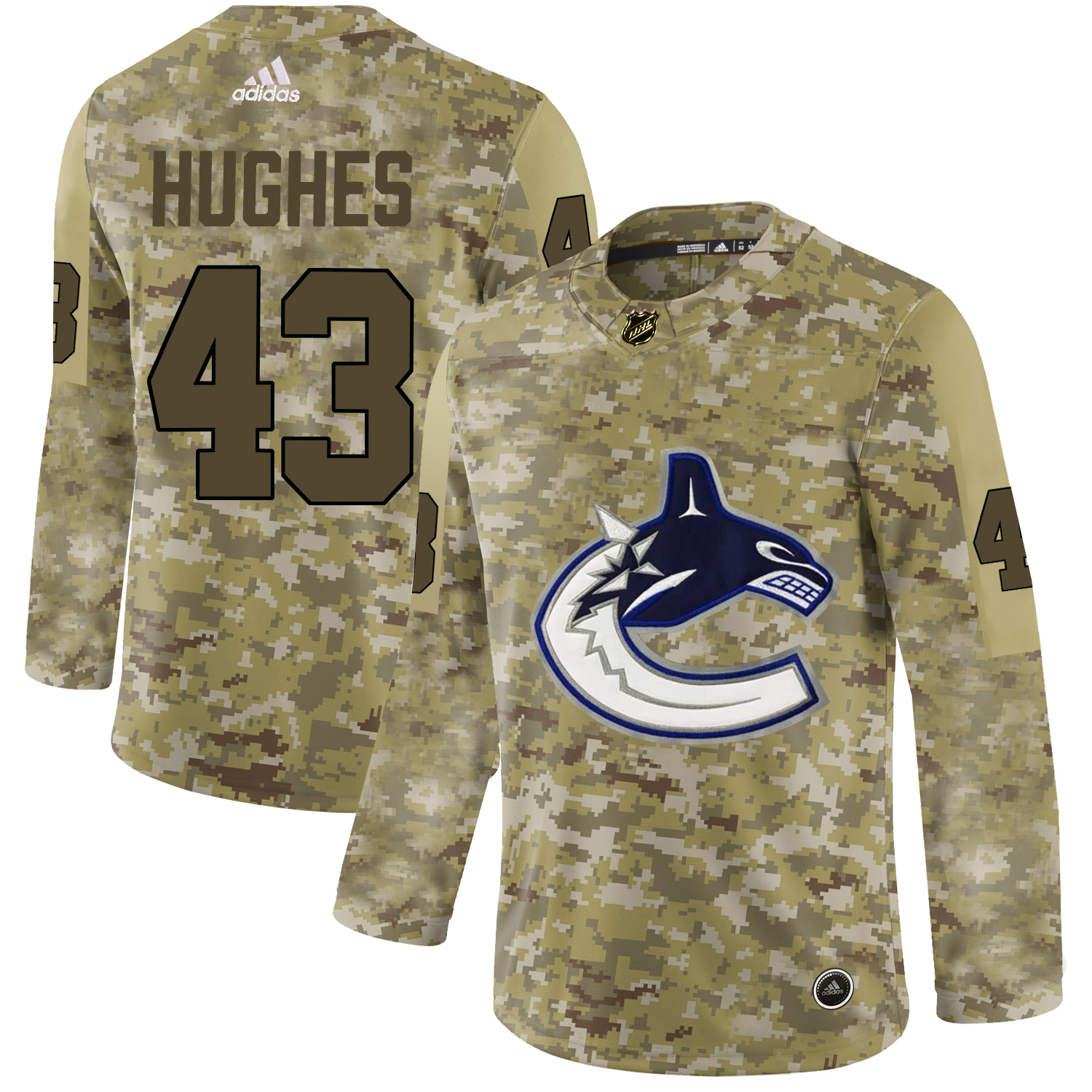 Adidas Canucks #43 Quinn Hughes Camo Authentic Stitched NHL Jersey