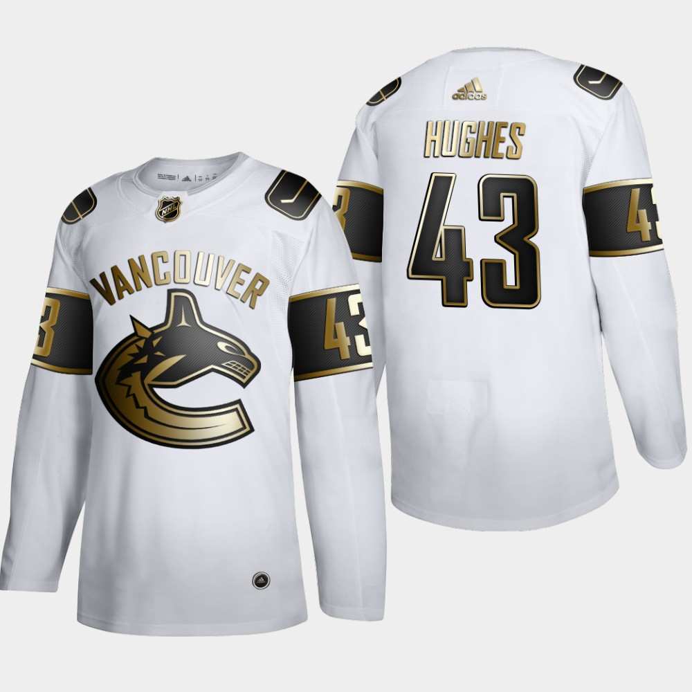 Vancouver Canucks #43 Quinn Hughes Men's Adidas White Golden Edition Limited Stitched NHL Jersey