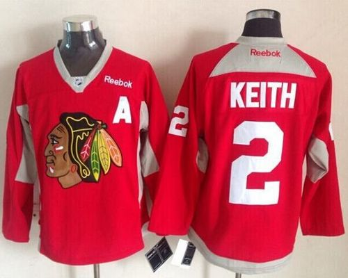 Blackhawks #2 Duncan Keith Red Practice Stitched NHL Jersey