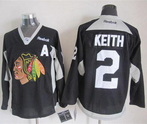 Blackhawks #2 Duncan Keith Black Practice Stitched NHL Jersey