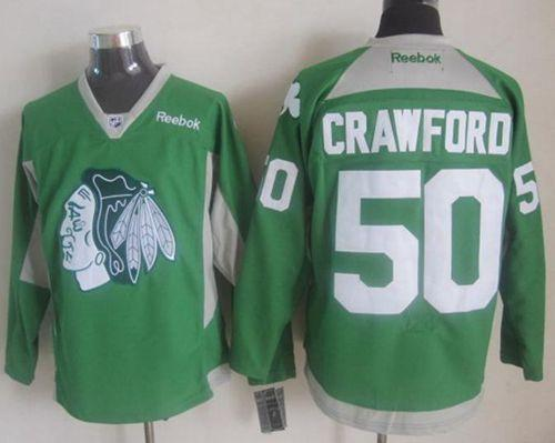 Blackhawks #50 Corey Crawford Green Practice Stitched NHL Jersey