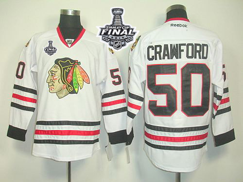 Blackhawks #50 Corey Crawford White 2015 Stanley Cup Stitched NHL Jersey